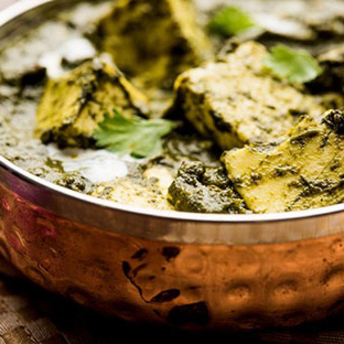 Vegetarian-palak-paneer curry